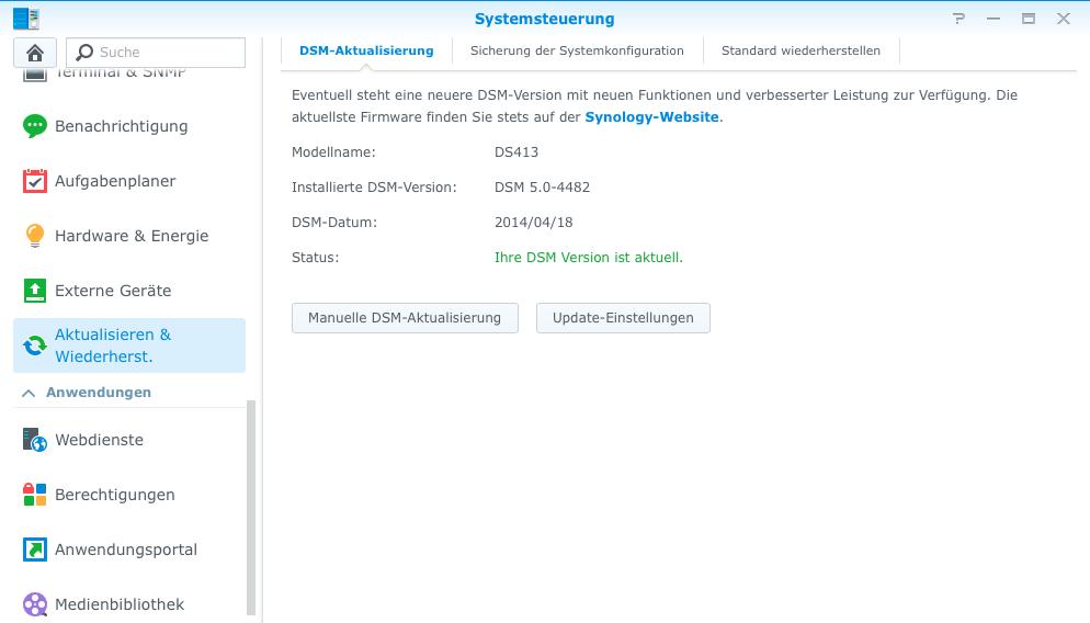 Synology DSM 5 Aktualisierungseinstellungen