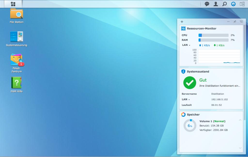 Synology DSM Interface mit Widget