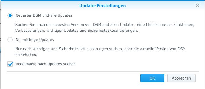 Synology DSM5 Update-Einstellungen